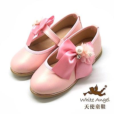 天使童鞋 珍珠花蕊蝴蝶結公主鞋(中-大童) J8008-粉