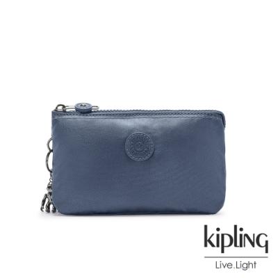 Kipling 個性霧灰藍三夾層配件包-CREATIVITY L