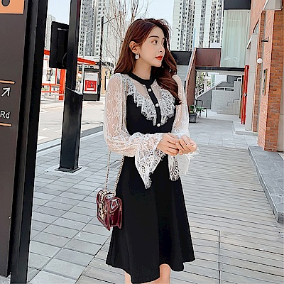DABI 韓國風蕾絲收腰氣質名媛網紗拼接長袖洋裝