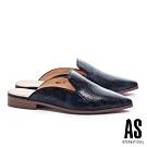 穆勒鞋 AS 經典時髦蛇紋尖頭低跟穆勒拖鞋-藍