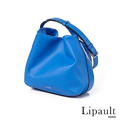 法國時尚Lipault By The Seine優雅真皮水桶包(亮藍)