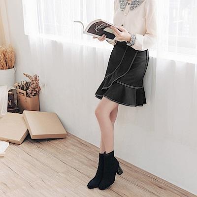 配色車線不規則荷葉造型魚尾短裙-OB大尺碼