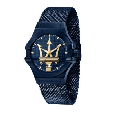 MASERATI 瑪莎拉蒂 瑪莎拉蒂 BLUE EDITION POTENZA 湛藍系米蘭三針日期腕錶(R8853108008)