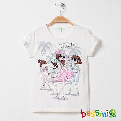 bossini女童-圓領短袖上衣10珍珠白