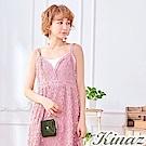 KINAZ 美好萌芽鏈帶皮夾斜背包-霧灰綠-常春藤系列