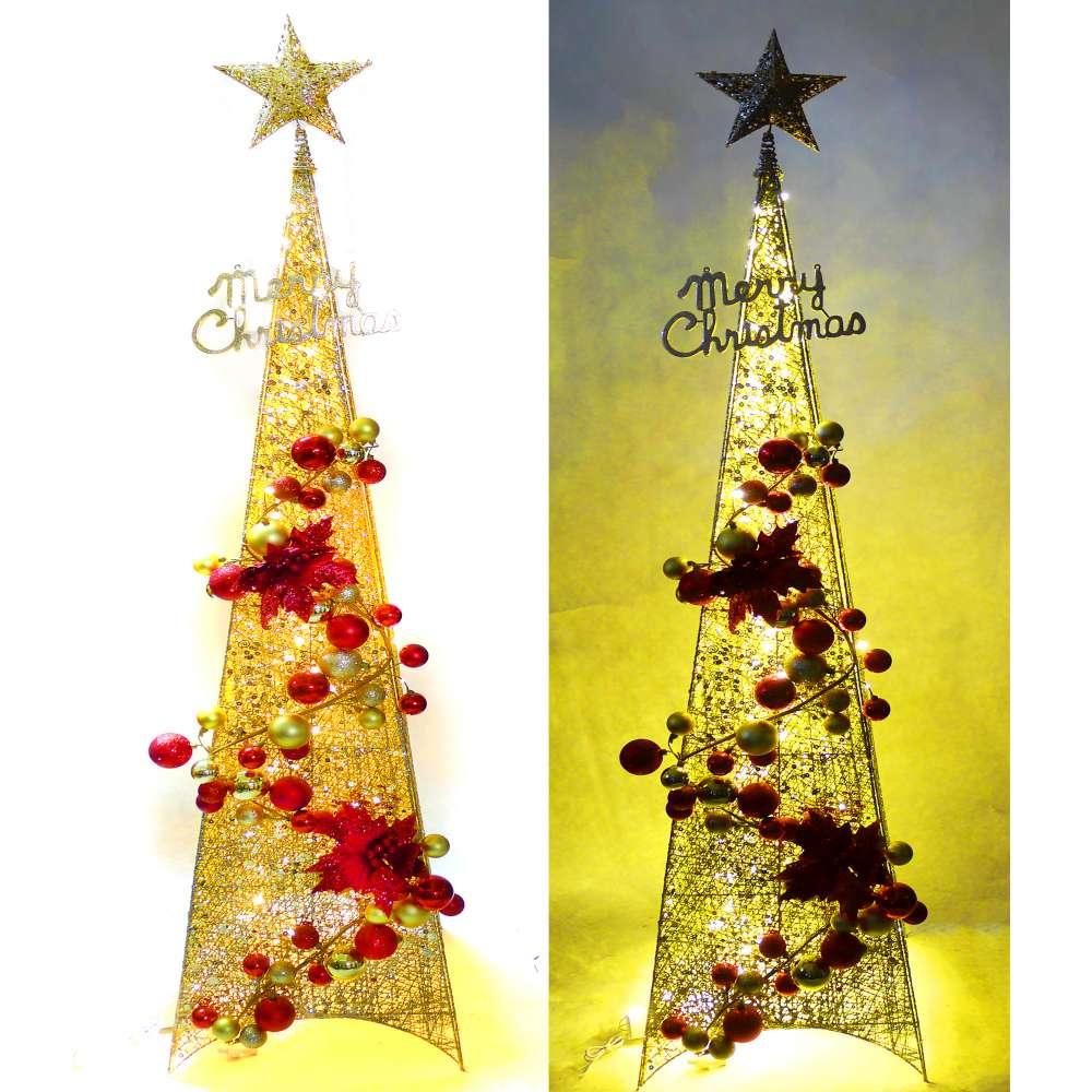 摩達客 180CM紅金色系聖誕裝飾四角樹塔+LED100燈插電式燈串(暖白光-附控制器)