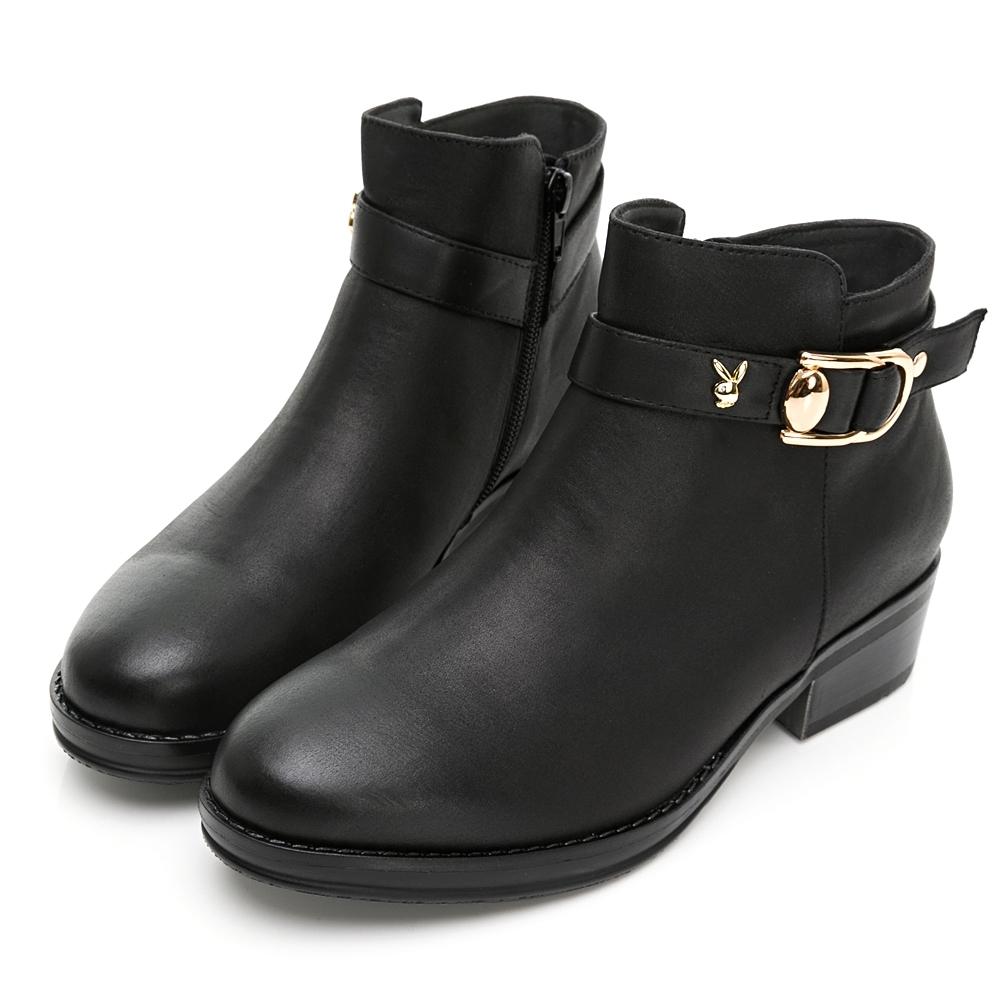 PLAYBOY 金屬飾釦手工粗跟短靴-黑-Y6792CC