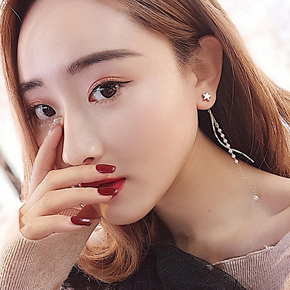 梨花HaNA 韓國美麗星願小珍珠流蘇曲線耳環