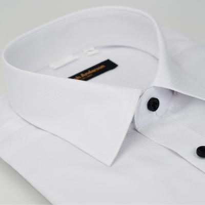 【金安德森】白色階梯暗紋窄版長袖襯衫fast
