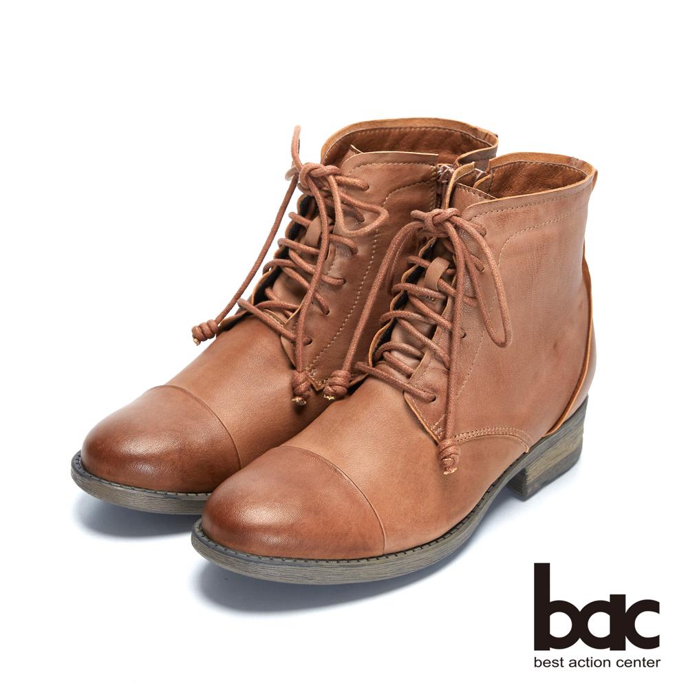 【bac】時尚玩家 - 雙色感細膩柔軟綿羊皮綁帶短靴