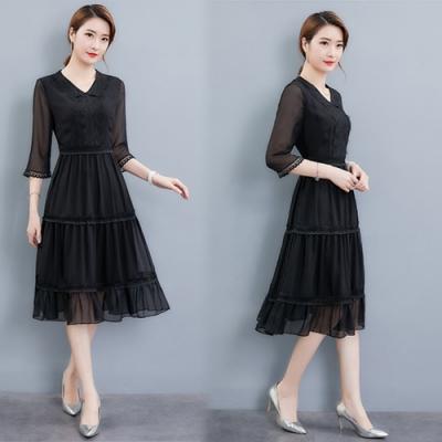 【韓國K.W.】時尚潮流俐落剪裁雪紡洋裝