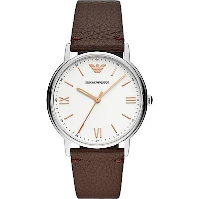 Emporio Armani Kappa 亞曼尼紳士主流手錶-白x咖啡/41mm