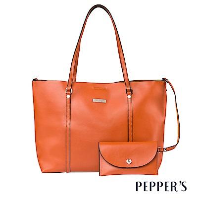 PEPPER`S Audrey 牛皮托特包 -桔色