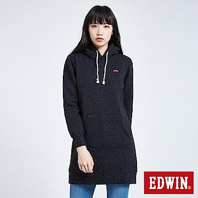 買一送一 棉粒內刷毛長版厚連帽T恤-女-黑色