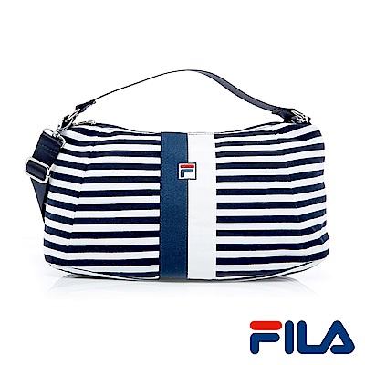 FILA條紋手提側肩背多用包(學院藍)