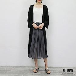 Jilli-ko 純色長版針織罩衫-黑