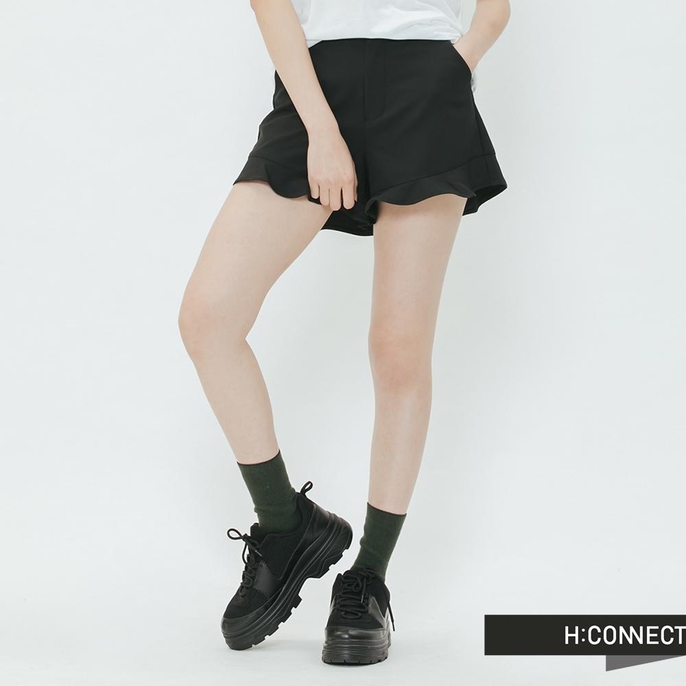 H:CONNECT 韓國品牌 女裝-花瓣邊西裝短褲-黑