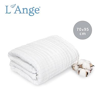 L Ange 棉之境 6層純棉紗布浴巾/蓋毯 70x95cm-白色
