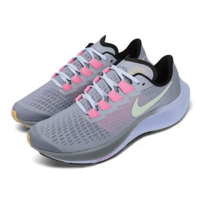 Nike 慢跑鞋 Zoom Pegasus 37 女鞋 氣墊 避震 輕量 透氣 舒適 大童 灰 粉 CJ2099401