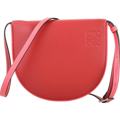 LOEWE Heel 撞色小牛皮馬鞍型肩斜背/腰包(紅色)