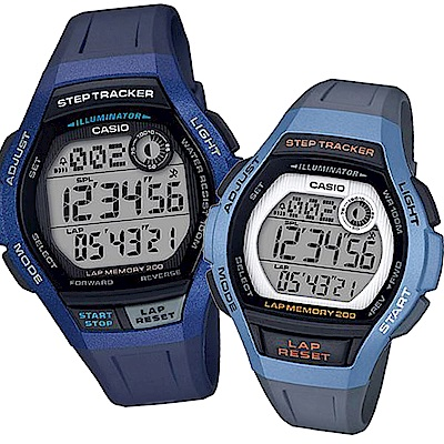 CASIO樂活首選輕量計步慢跑運動組合錶(WS-2000H-2+LWS-2000H-2)藍