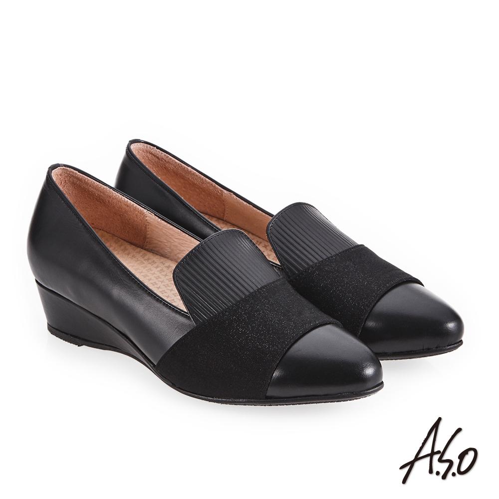A.S.O 美型對策 彈性布拼接楔型低跟鞋 黑
