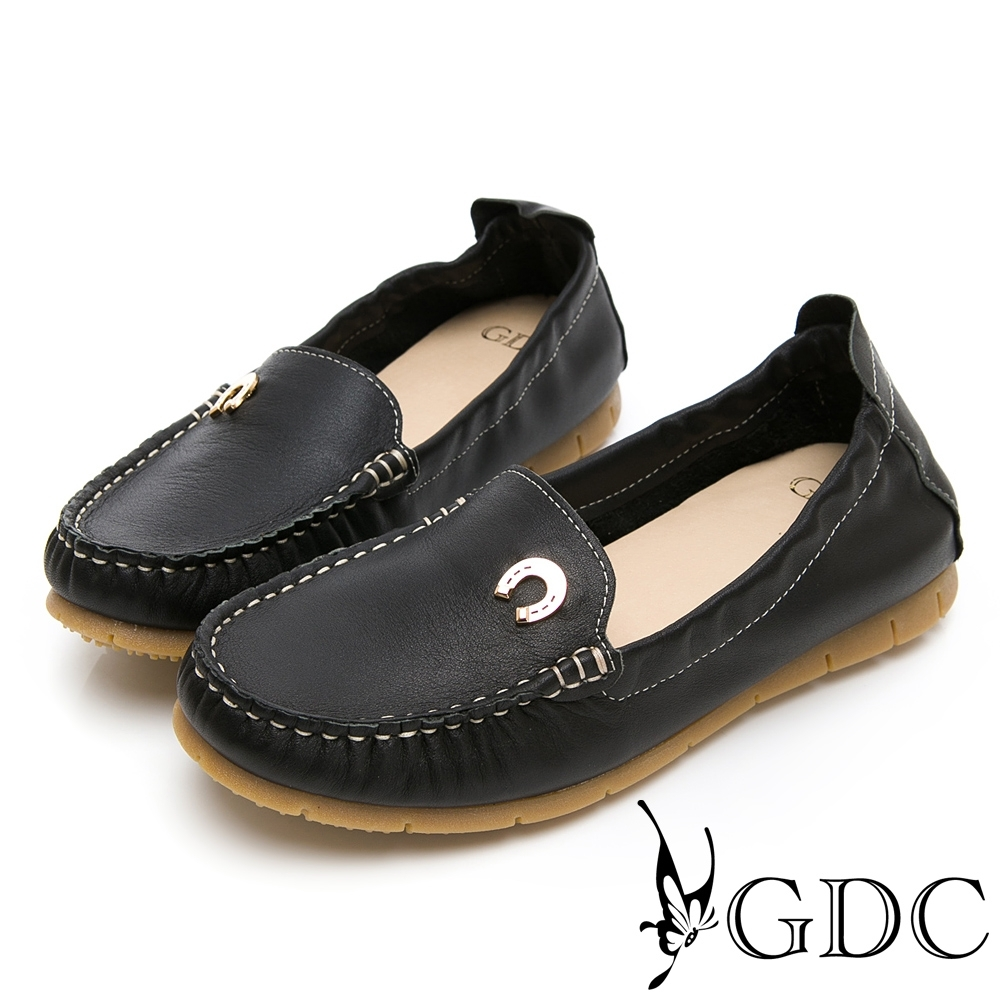 GDC-真皮舒適素色基本小鐵扣車線休閒鞋-黑色