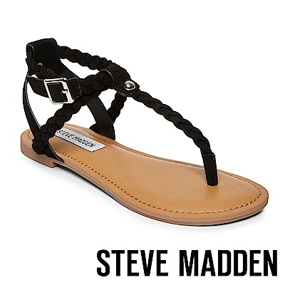 STEVE MADDEN- BRAIDED 編織羅馬繫帶平底涼鞋-黑色