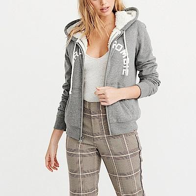 A&F 經典刺繡文字厚鋪毛保暖連帽外套(女)-灰色 AF Abercrombie