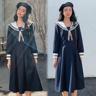 【韓國K.W.】(預購)海軍風時尚水手服洋裝深藍款~春季新品上架-1色
