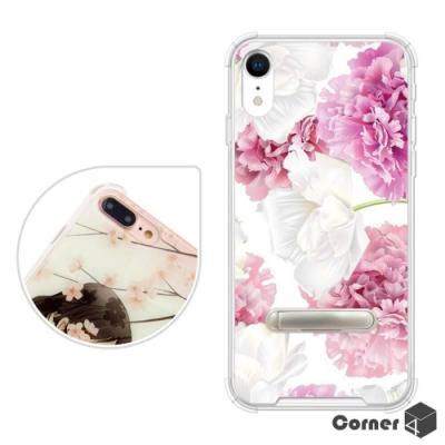 Corner4 iPhone XR 6.1吋四角防摔立架手機殼-薔薇