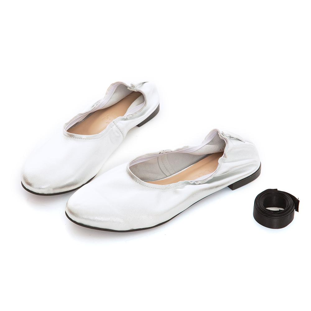 iki2古典優雅真皮舒適平底綁帶鞋-魅力銀