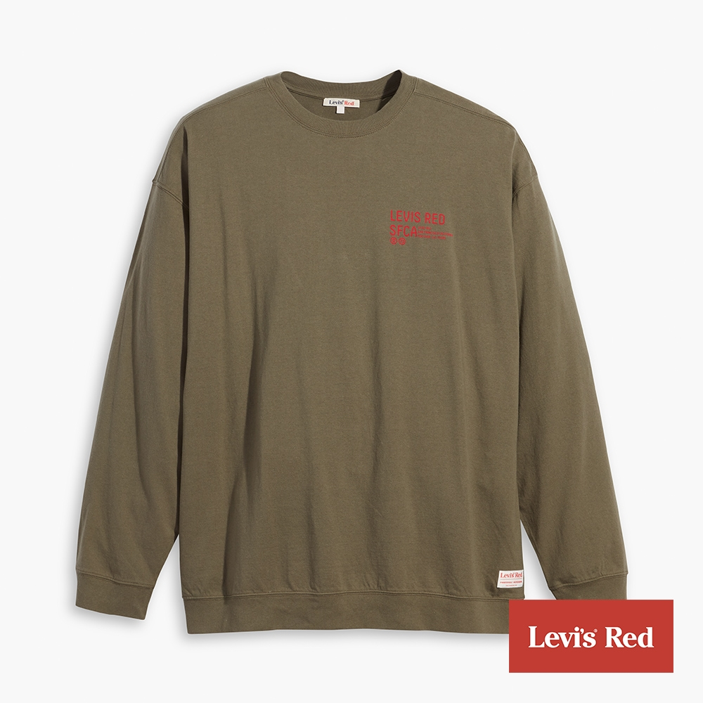 Levis Red 工裝手稿風復刻再造 男款 長袖T恤 橄欖綠