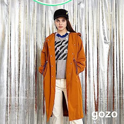gozo 復古英倫高腰抽繩長版風衣外套(二色)