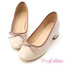 D+AF 優雅焦點.漆皮低跟芭蕾娃娃鞋*杏