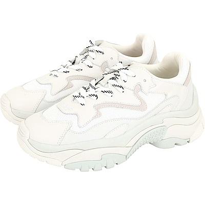ASH Addict 菱形網編織拼接牛皮繫帶老爹鞋(白色)