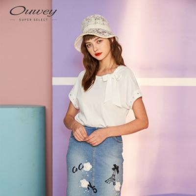 OUWEY歐薇 都會綁帶手縫珠鑽飾上衣(白)