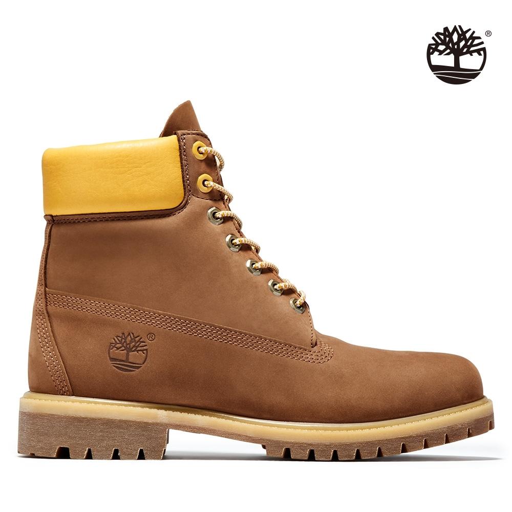 Timberland 男款馬鞍棕磨砂革中筒靴 A2C96