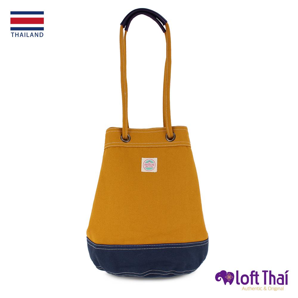Loft THAI   泰.兩用帆布水桶包(大)   Mustard/navy @ Y!購物