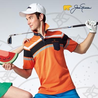 【Jack Nicklaus】金熊Golf男款胸前口袋吸濕排汗POLO衫-橘色
