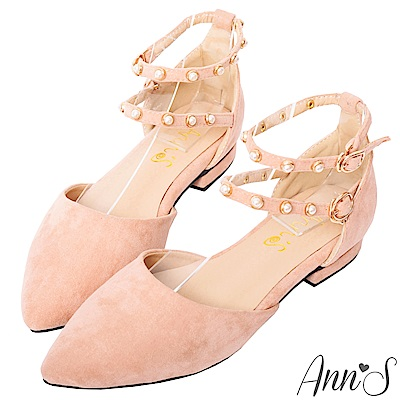 Ann'S偏執甜-珍珠雙繫帶平底尖頭鞋-粉(版型偏小)