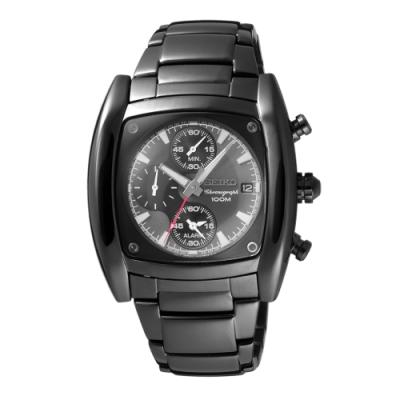 SEIKO 放眼世界三眼腕錶-黑(SNAB01P1)42X45mm