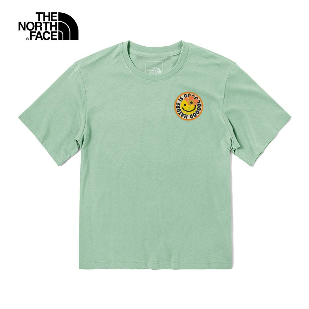 The North Face北面女款淺綠色童趣笑臉印花圓領短袖T恤 4UBQV39