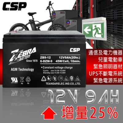 【ZEBRA斑馬牌】ZB9-12(12V9Ah)鉛酸電池/等同NP7-12加強版增量25%