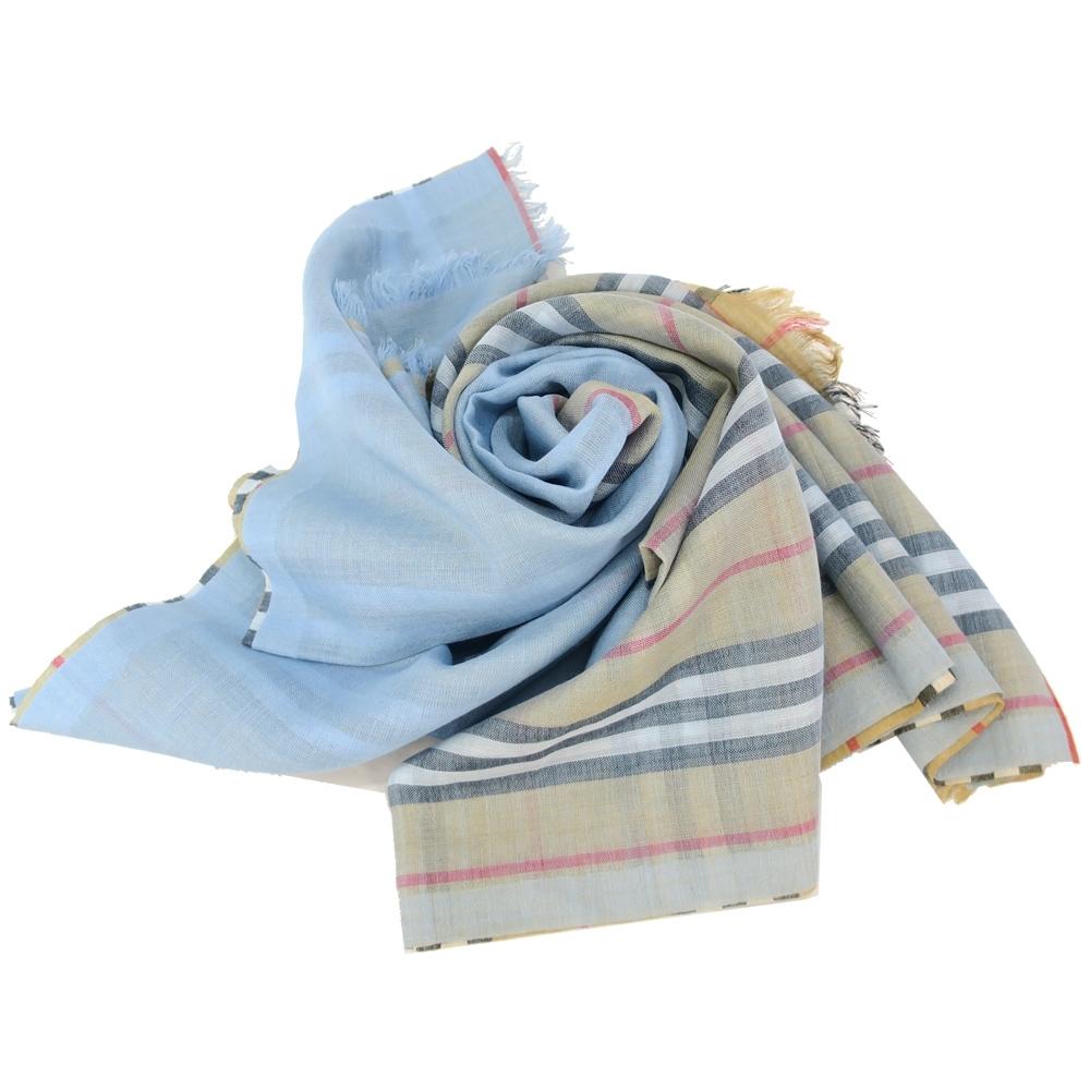 BURBERRY Vintage 雙面格紋輕盈羊毛絲綢圍巾(水藍)