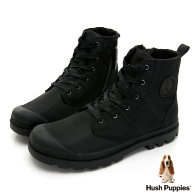 Hush Puppies 質感防潑水休閒男靴-黑