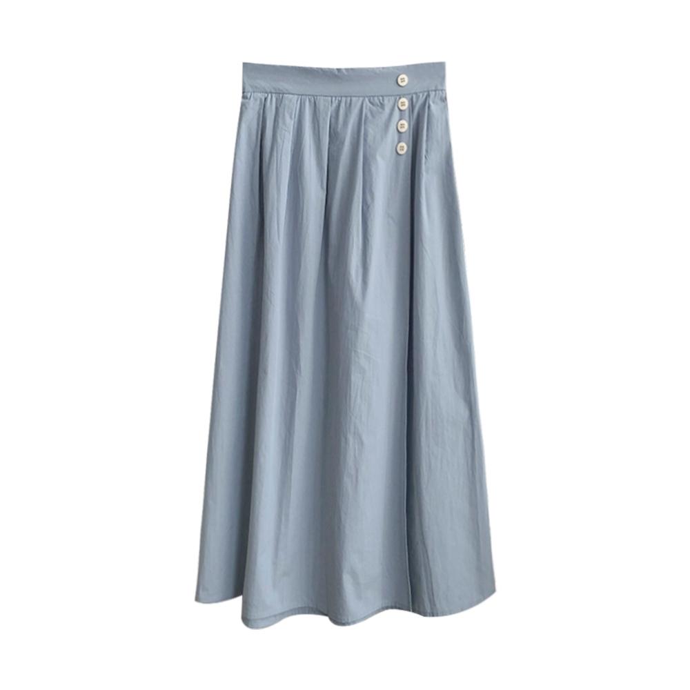 一片裙造型裝飾排釦長裙 共二色 TATA-(M/L)