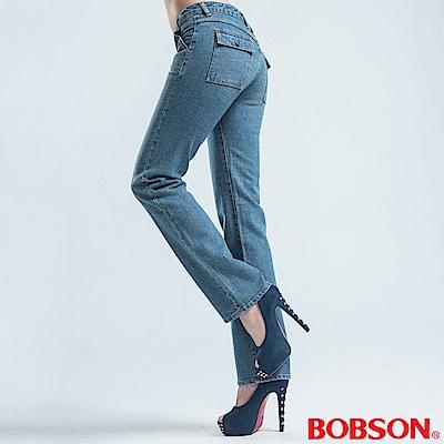 BOBSON 超低腰粗結紗伸縮直筒褲-淺藍