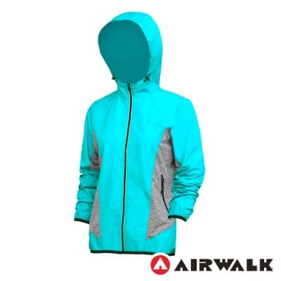 【AIRWALK】拼接連帽外套-女-淺綠