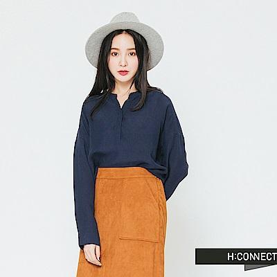 H:CONNECT 韓國品牌 女裝-半開襟純色麻料襯衫-藍